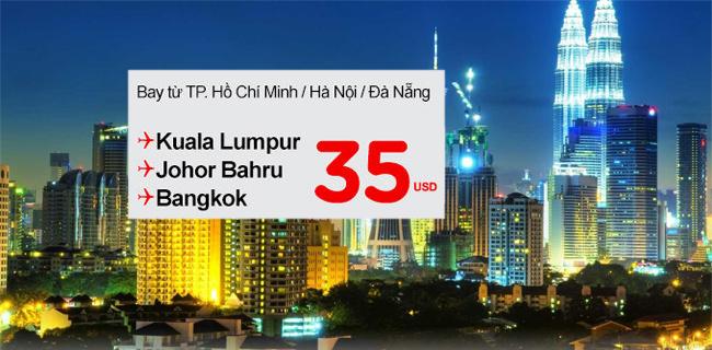 Air Asia bán vé 35USD đi Kuala Lumpur, Johor Bahru, Bangkok