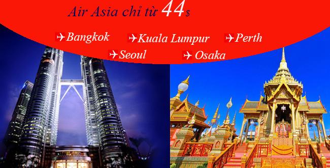 Vé máy bay đi Bangkok giá rẻ chỉ từ 44USD