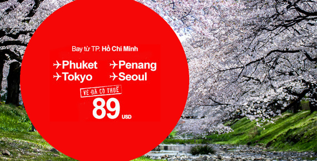 Chỉ 89USD vé máy bay giá rẻ Air Asia đi Tokyo