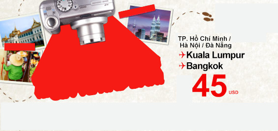 Vé máy bay giá rẻ Air Asia chỉ từ 45$